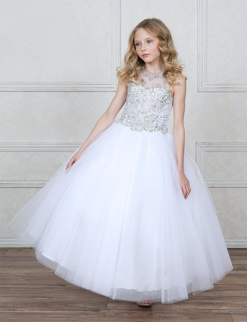 First Communion Ball Gown with Dazzling Jeweled Bodice