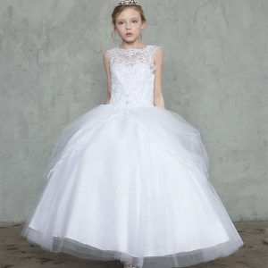 First Communion Ball Gown with Draped Tulle