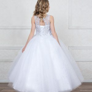 First Communion Ball Gown with Jeweled Bodice and Sweetheart Neckline