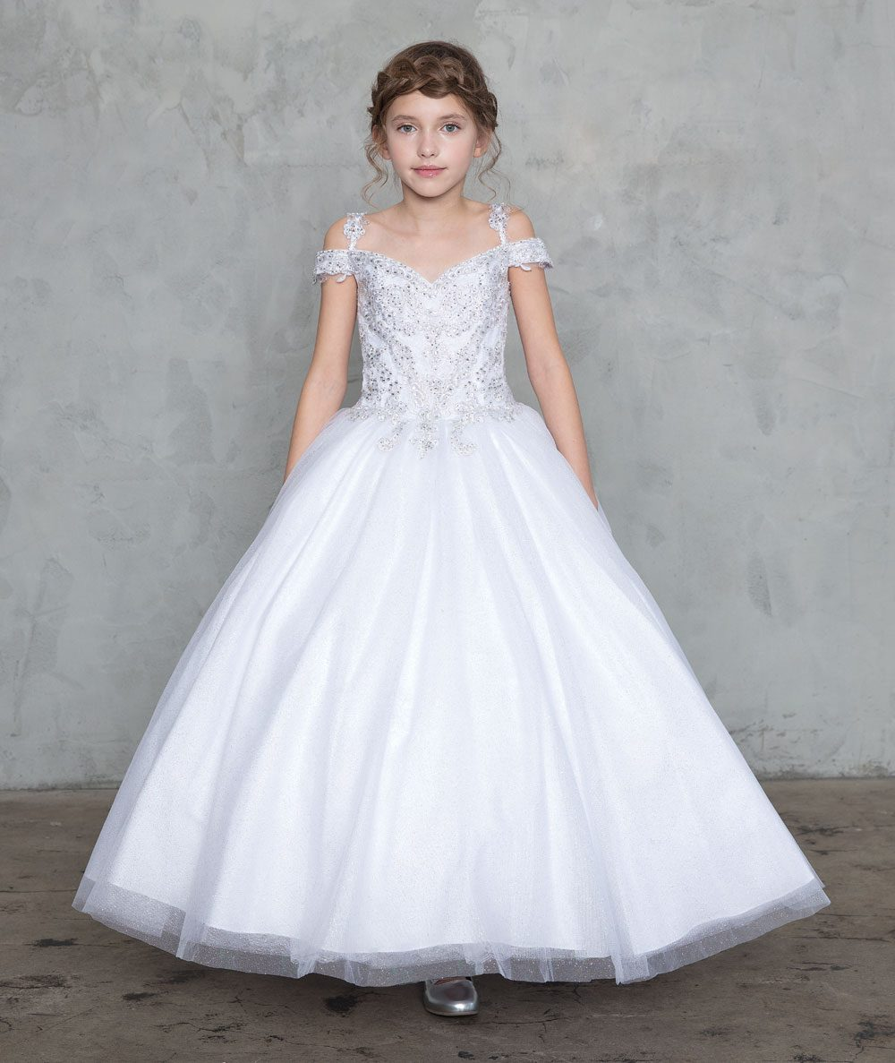 Off Shoulder First Communion Ball Gown