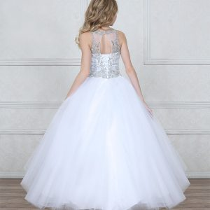 First Communion Dress with Dazzling Jeweled Bodice