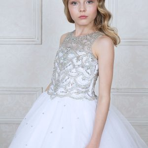 First Communion Dress with Jeweled Bodice