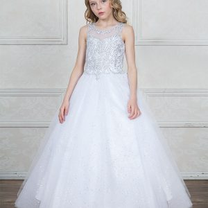First Communion Dress with Jeweled Bodice and Sweetheart Neckline