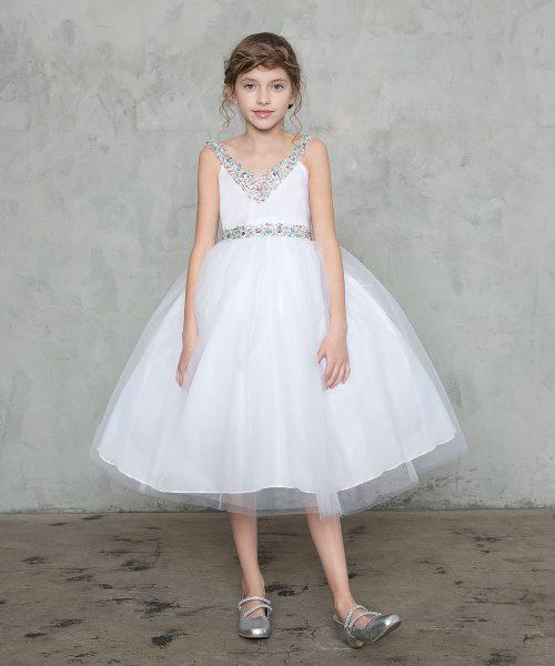 First Communion Dress with Jeweled Neckline