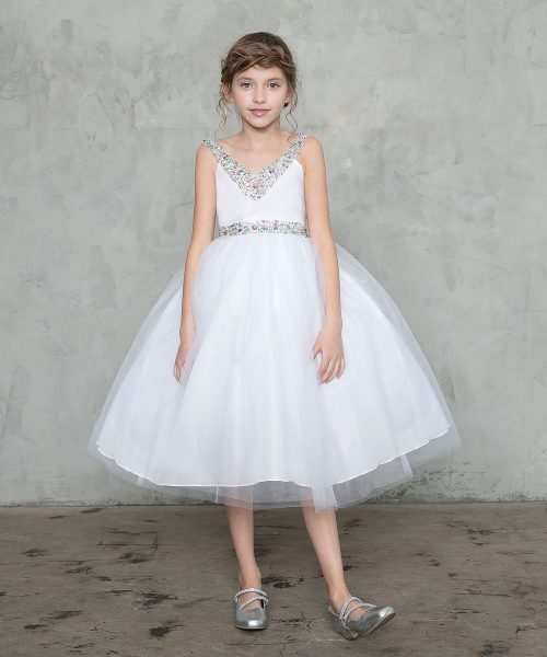 First Communion Dress with Jeweled Neckline