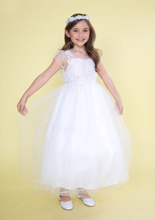 First Communion Dress with Organza Jacket