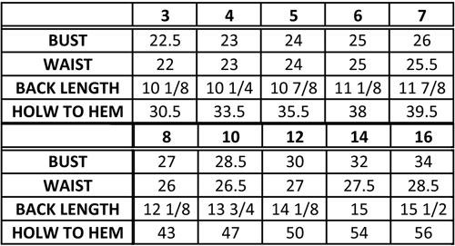 First Communion Dresses Size Chart