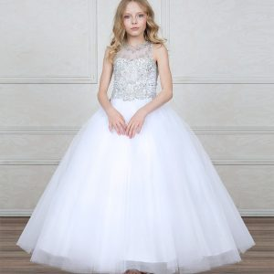First Communion Ball Gown with Glittery Bodice