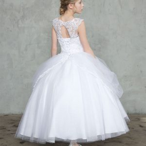 First Communion Gown with Draped Overlay