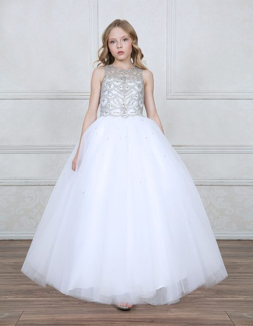 First Communion Gown with Jeweled Bodice