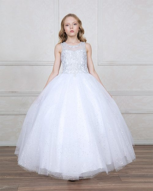 First Communion Gown with Jeweled Bodice and Sweetheart Neckline