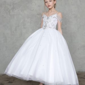First Communion Gown with Off Shoulder Bodice