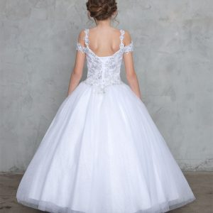 First Communion Gown with Off the Shoulder Sleeves