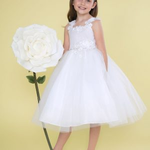First Holy Communion Dress with Floral Shoulder Strap