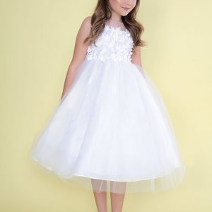 Flower Bodice Tulle First Communion Dress