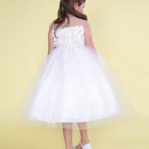 Flower Patch Tulle Tea Length First Communion Dress