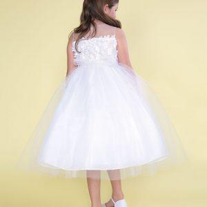 Flower Patch Tulle Tea Length First Communion Dress