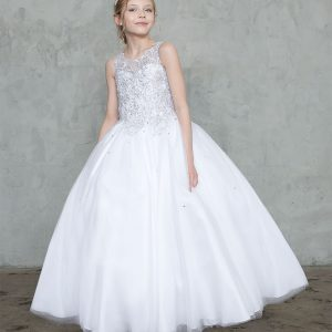 Girls First Communion Ball Gown with Beaded Bodice