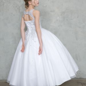 Girls First Holy Communion Ball Gown with Beaded Bodice