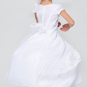 Inexpensive Organza First Communion Dress with Layered Skirt