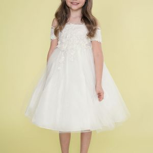 Ivory First Communion Dress Off Shoulder Sleeves