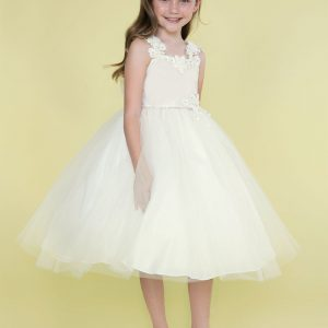 Ivory First Communion Dress with Floral Shoulder Strap