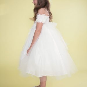 Ivory Flower Girl Dress Off Shoulder Sleeves