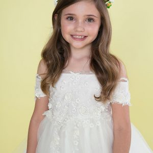 Ivory Tea Length First Communion Dress Off Shoulder Sleeves