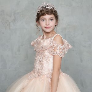 Off Shoulder Lace Sleeve Blush First Communion Gown