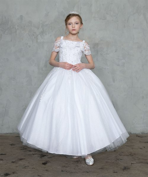 Off Shoulder Lace Sleeve First Communion Gown
