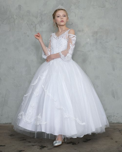 Off Shoulder Long Sleeves First Communion Gown
