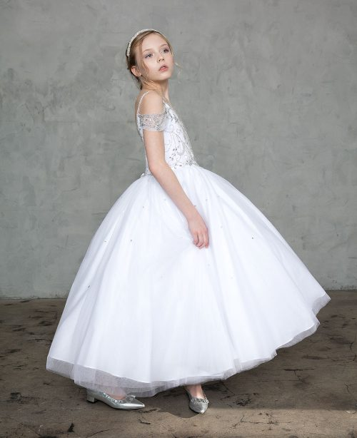 Off the Shoulder First Communion Gown