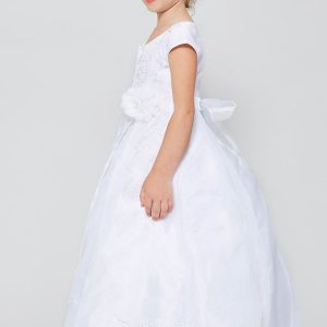 Organza First Communion Dress with Layered Skirt and Bow
