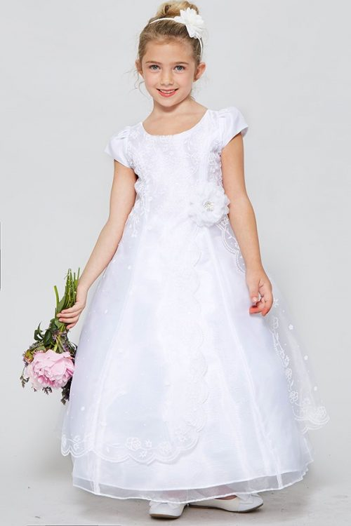 Organza First Communion Dress with Layered Skirt and Cap Sleeves