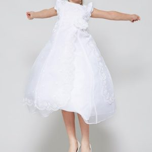 Organza First Holy Communion Dress with Layered Skirt