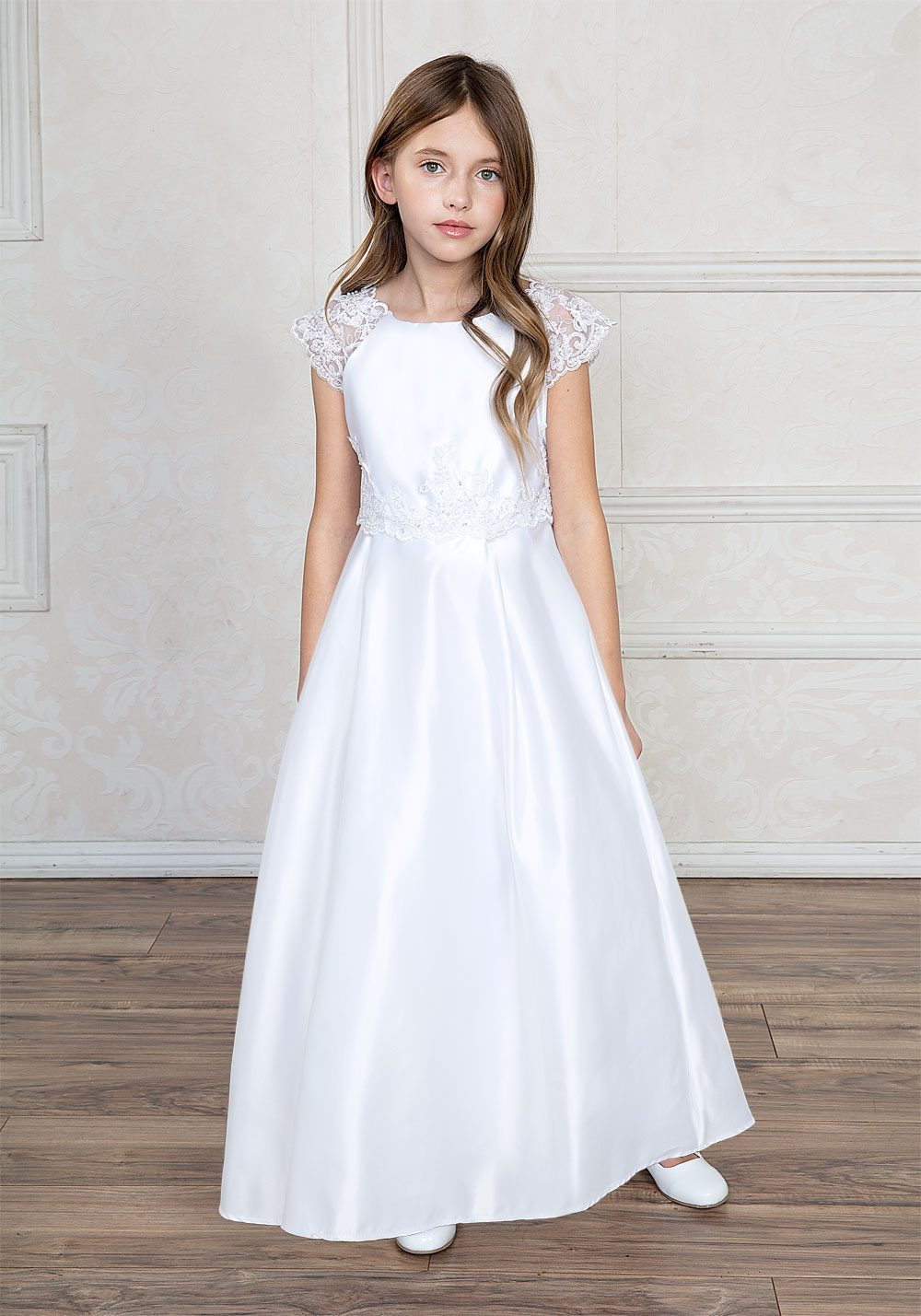 Satin A Line First Communion Dress with Lace Cap Sleeves