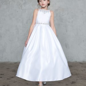 Satin First Communion Dress with Beaded Neckline