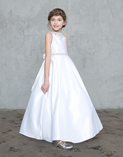 Satin First Holy Communion Dress with Beaded Neckline