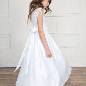 Satin Long Length First Communion Dress with Lace Cap Sleeves