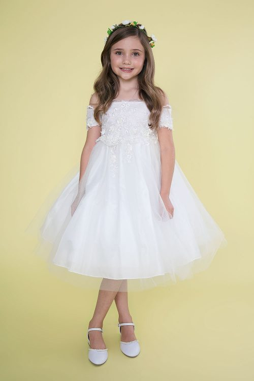 White First Communion Dress Off Shoulder Sleeves