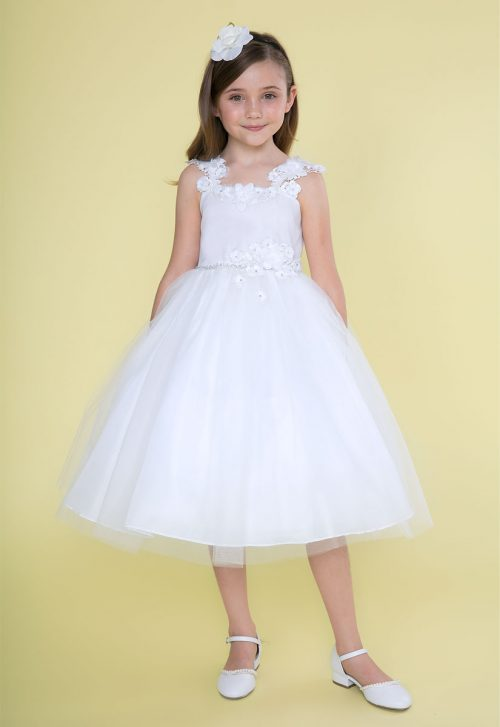 White First Communion Dress with Floral Shoulder Strap
