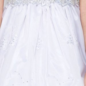 satin and embroidered communion dresses for girls