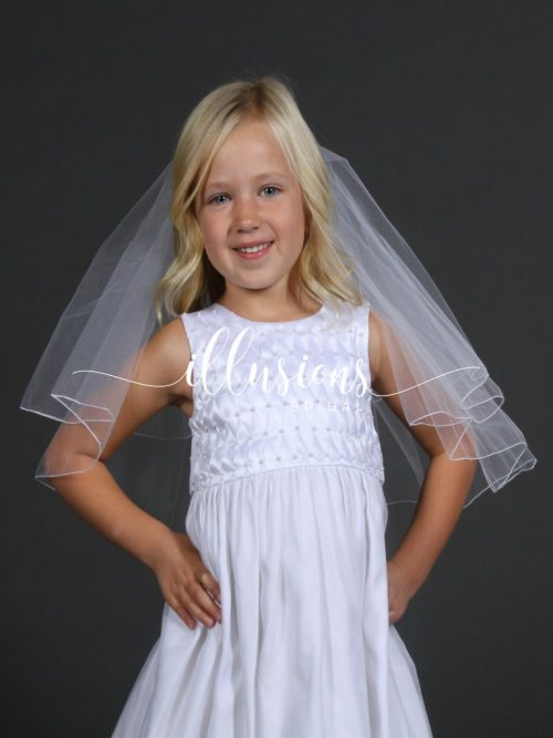 Circular First Communion Veil with Corded Edge