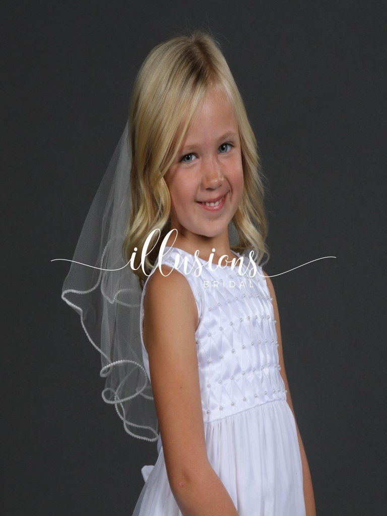 Circular First Communion Veil with Pearl Edge