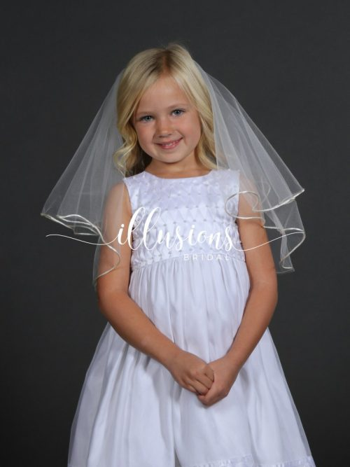 Circular First Communion Veil with Rattail Edge