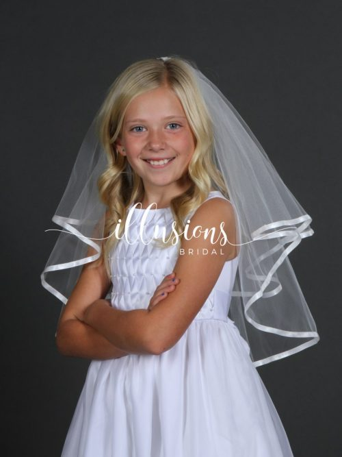 Circular First Communion Veil with Ribbon Edge