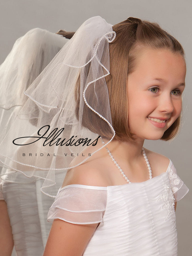 First Communion Veil with Pearl Trim