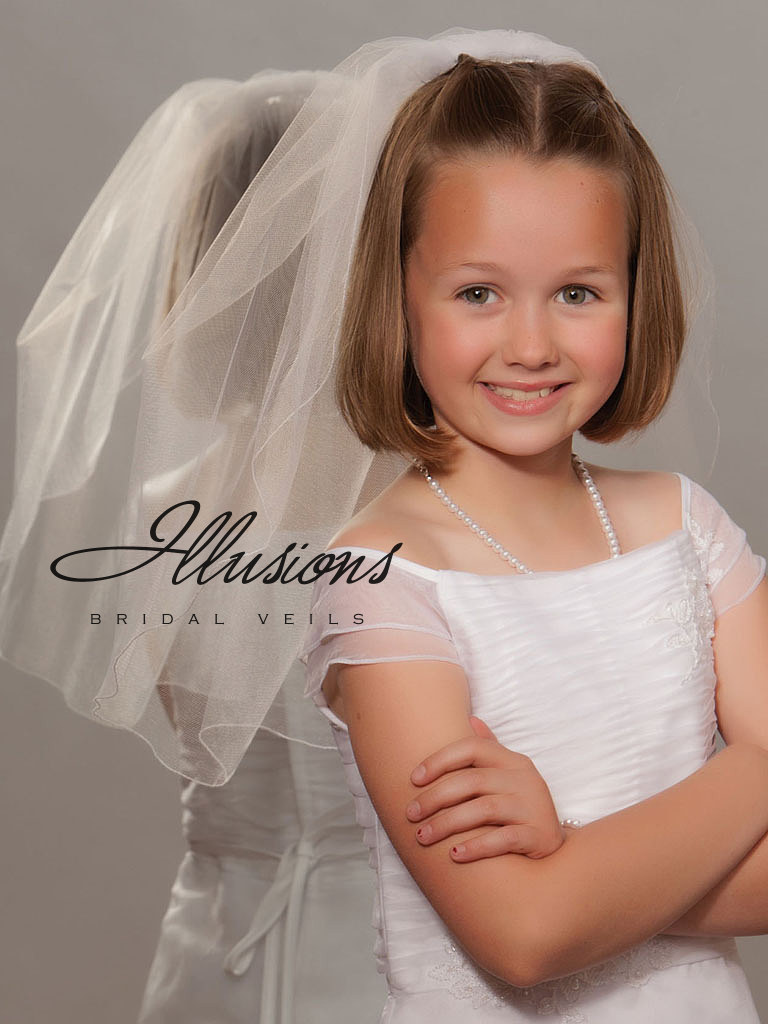 First Communion Veil with Corded Edge