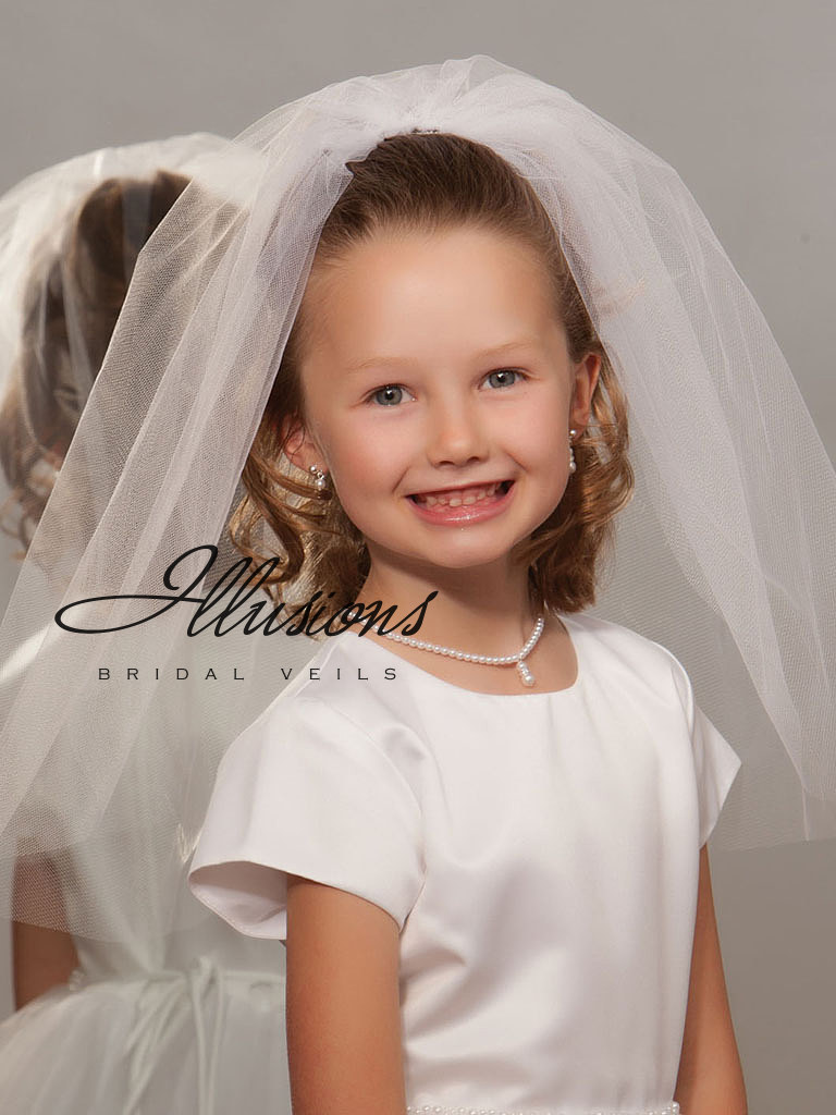 First Communion Veil with Cut Edge