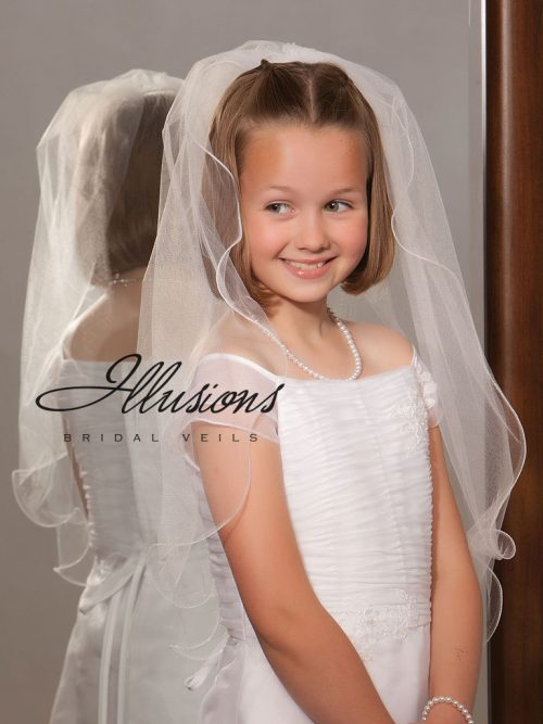 First Communion Veil with Filament Edge